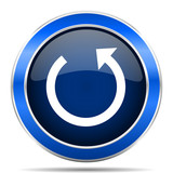 Rotate vector icon. Modern design blue silver metallic glossy web and mobile applications button in eps 10 - 187365112