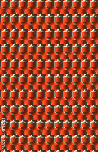 Pattern, surface, texture, background of an odd shaped shades of red and silver object. - 187367734