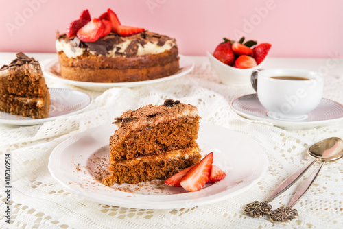 Coffee cake, Strawberries and Coffee