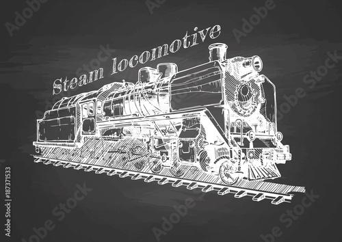 Vintage pociąg na tablicy