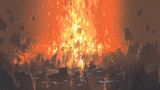 scene of apocalyptic explosion with many fragment of buildings, digital art style, illustration painting - 187375946