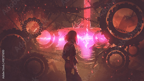 back view of woman standing in old factory looking at the red light through gears, digital art style, illustration painting
