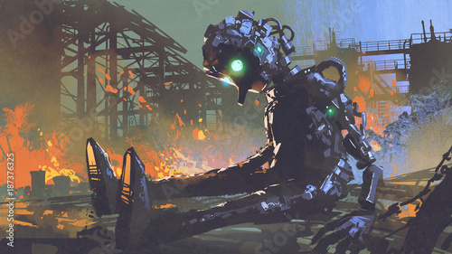 broken robot leaved on abandoned factory, digital art style, illustration painting © grandfailure