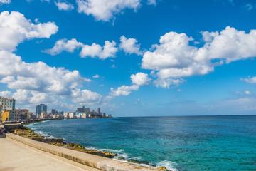 View of the sea from El Malecon in Havana City Cuba