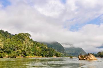 Riverside landscape on the Nam Ou river in Laos