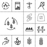 Seed icons. set of 13 editable outline seed icons