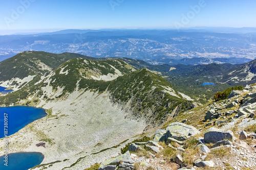 Foto op Aluminium Khaki Amazing Landscape of Kremenski lakes from Dzhano peak, Pirin Mountain, Bulgaria