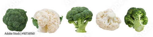 Deurstickers Verse groenten Fresh cauliflower and broccoli isolated on white background with clipping path