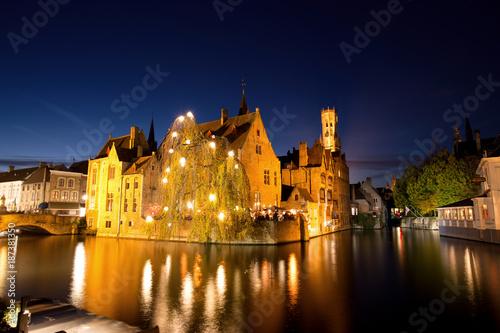 Fotobehang Brugge Historic Medieval City of Bruges with River Canal at Dusk, Belgium
