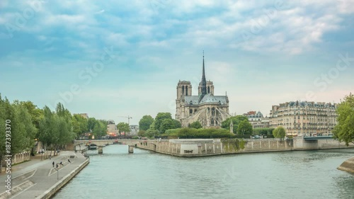 Sticker Paris city skyline day to night timelapse at Notre Dame de Paris Cathedral and Seine River, Paris, France 4K Time lapse