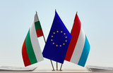 Flags of Bulgaria European Union and Luxembourg - 187394344