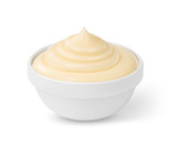 Mayonnaise sauce in bowl isolated on white background - 187399747