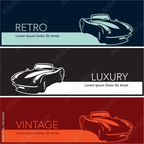Retro Vintage Luxury Cars Silhouette Banners Buy Photos Ap