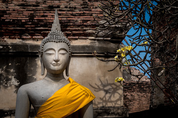 Buddha statues at a temple in Ayutthaya Thailand