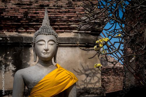 Poster Boeddha Buddha statues at a temple in Ayutthaya Thailand
