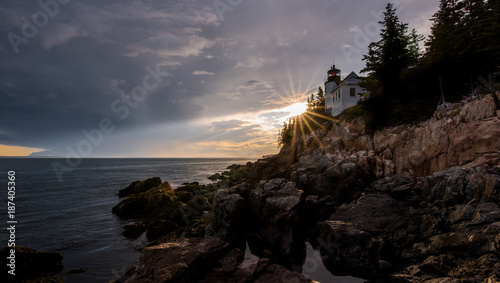 Tuinposter Donkergrijs Bass Harbor Light - Lighthouse - Maine - Acadia National Park