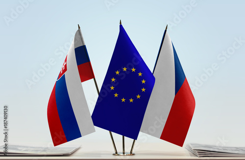 Flags of Slovakia European Union and Czech Republic Poster