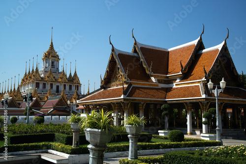 Poster Boeddha The Loha Prasat or Metal Castle in Wat Ratchanatdaram Woravihan, Thailand.