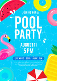 Pool party invitation vector illustration. Top view of swimming pool with pool floats. - 187425761