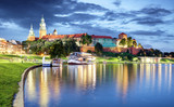 Wawel hill with castle in Krakow at night, Poland