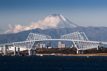 Mt,Fuji anf Tokyo gate bridge in winter season