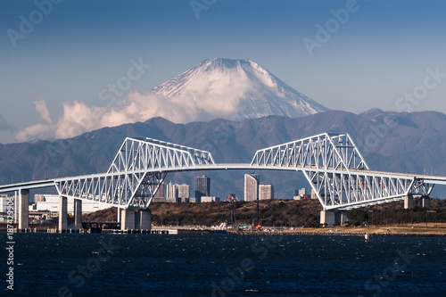 Poster Tokio Mt,Fuji anf Tokyo gate bridge in winter season