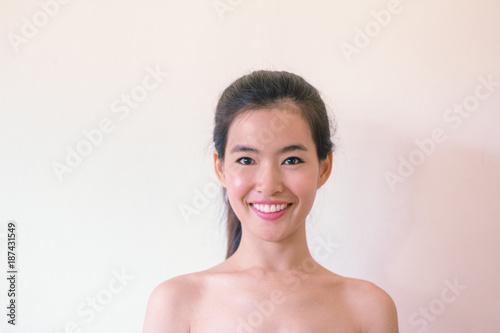 Fotobehang Spa Beauty Skincare concept- Head Shot portrait of Young Asian woman