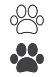 Paw icon, line and solid version, outline and filled vector sign, linear and full pictogram isolated on white. Pet supplies symbol, logo illustration. Pixel perfect vector graphics