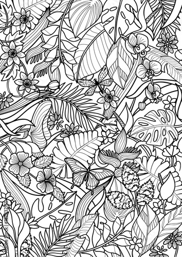 Tropical Outline Pattern