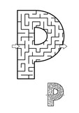 Alphabet  learning fun and educational activity for kids - letter P maze game. Answer included.