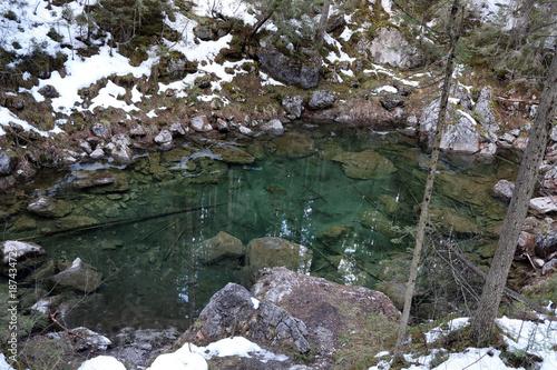 Foto op Canvas Bergen Bergsee in Schnee & Eis