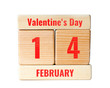 14 february valentine's day text on wooden blocks