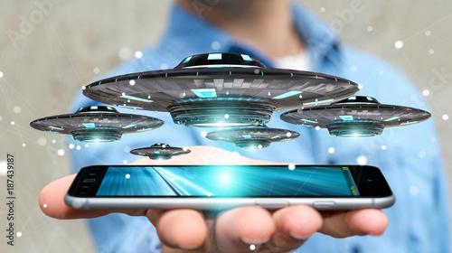 Fotobehang UFO Businessman with retro UFO spaceship 3D rendering