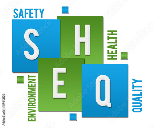 SHEQ - Safety Health Environment Quality Green Blue Squares Text
