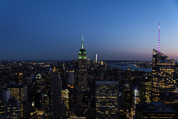 Night skyline of New York City.