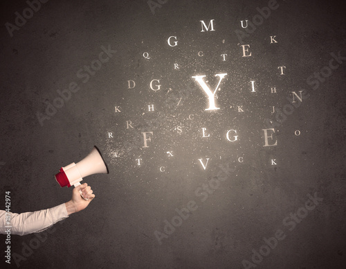 Foto Murales Megaphone with letters