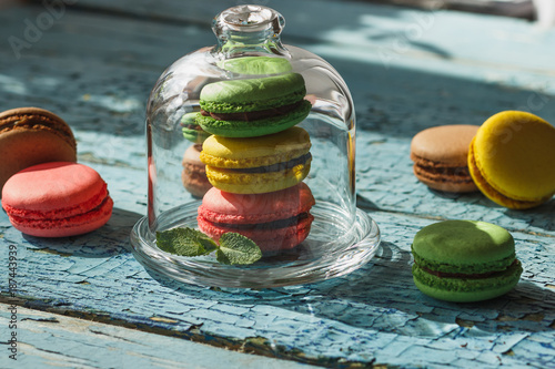 Foto Murales Green, pink, brown and yellow french macarons with mint leaves