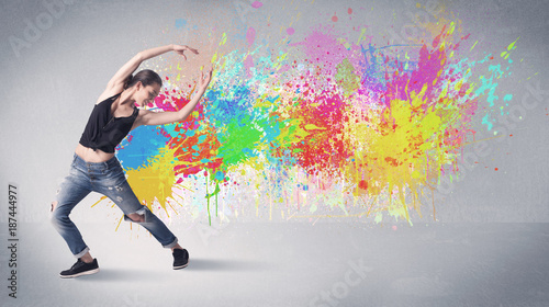 Young colorful street dancer with paint splash - 187444977