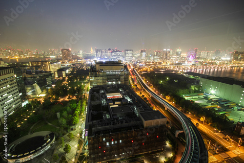 City view from Odaiba Landmark tower at night, Tokyo, Japan - 187445581