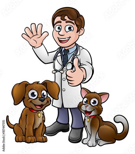 Fotobehang Indiërs Vet with Pet Cat and Dog Cartoon Characters