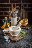 Herbs and Spices, Mortar and Pestle, Rosemary, Olive Oil and Salt - 187447955