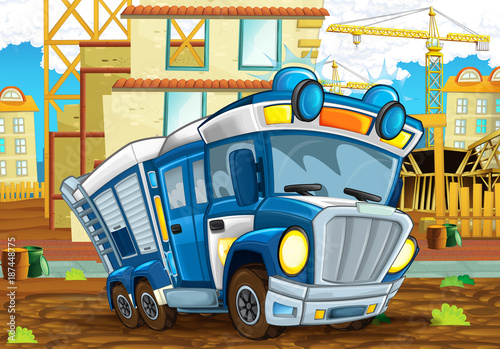 cartoon-scene-with-funny-looking-police-car-driving-through-the-city-near-the-construction-site-illustration-for-children