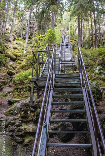 Stairs on the rock with remains of Strmen Castle in Teplice Rocks, part of Adrsp Poster