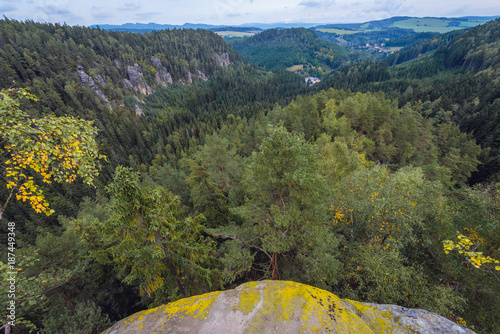 Teplice Rocks, part of Adrspach-Teplice landscape park in Czech Republic, view f Poster