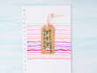 Colorful hand drawn pink card for invitation, happy birthday greetings on paper tag. Copy space
