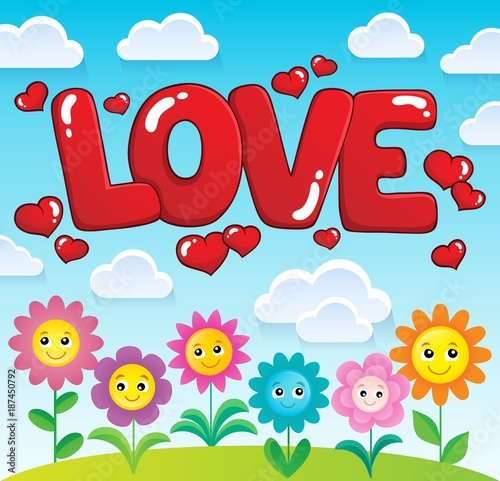 Deurstickers Voor kinderen Word love theme image 2