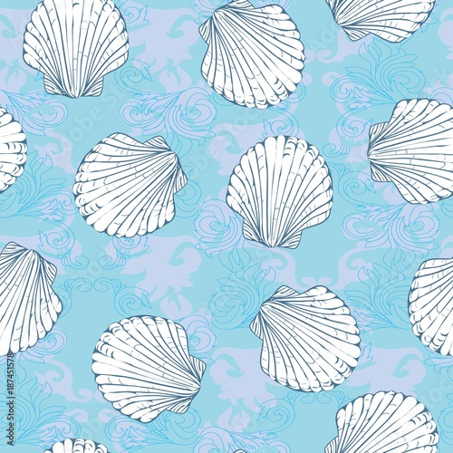 Materiał do szycia Vector seamless pattern with hand drawn scallop shells. Beautiful marine design elements, perfect for prints and patterns.