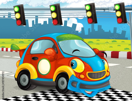 cartoon-funny-and-happy-looking-racing-car-on-race-track-illustration-for-children