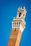 Close up of Torre del Mangia (Mangia tower) in Siena, Tuscany, Italy