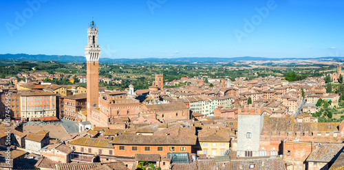 Poster Toscane Panorama of Siena, aerial view with the Torre del Mangia (Mangia Tower) and Piazza del Campo (Campo square) , Tuscany, Italy